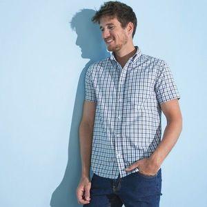 Kockovaná košeľa, rovný strih, krátke ru modrá/biela 49/50 vyobraziť