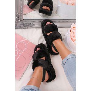 Čierne plyšové sandále Nina vyobraziť