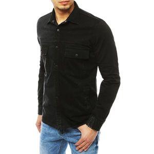 Men's denim shirt black DX1847 vyobraziť