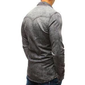 Gray men's denim shirt DX1841 vyobraziť