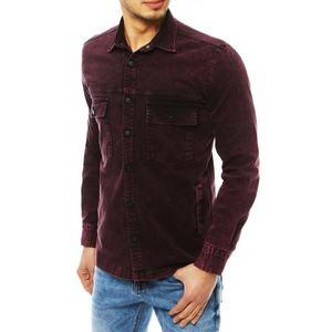 Dark burgundy men's denim shirt DX1849 vyobraziť