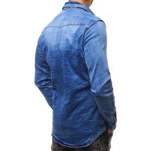 Men's denim shirt blue DX1789 vyobraziť