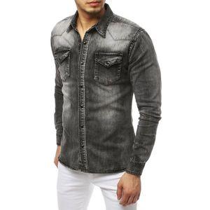 Gray men's denim shirt DX1843 vyobraziť
