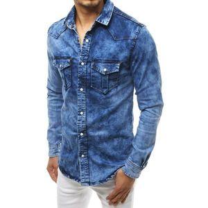 Men's denim shirt blue DX1833 vyobraziť