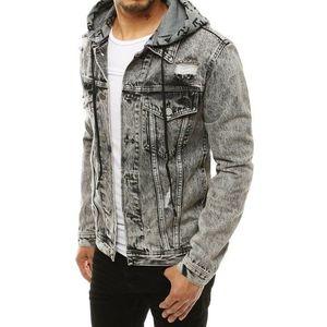 Tmavo-sivá pánska rifľová bunda s kapucňou TX3304 vyobraziť