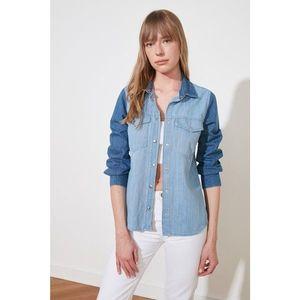 Trendyol Blue Color Block Denim Shirt vyobraziť