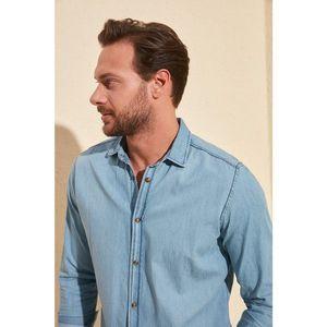 Trendyol Blue Male Thin Basic Denim Shirt vyobraziť
