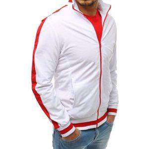 Men's white zip sweatshirt BX3915 vyobraziť