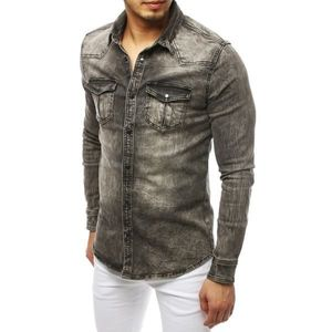Gray men's denim shirt DX1840 vyobraziť