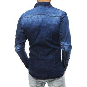 Navy blue men's shirt DX1837 vyobraziť