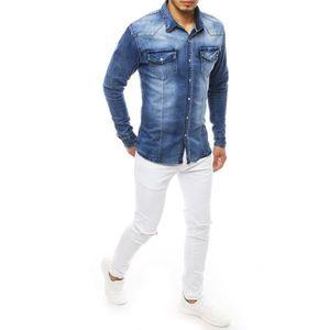 Men's denim blue shirt DX1844 vyobraziť