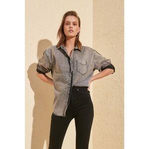 Trendyol Black Oversize Wash Denim Shirt vyobraziť