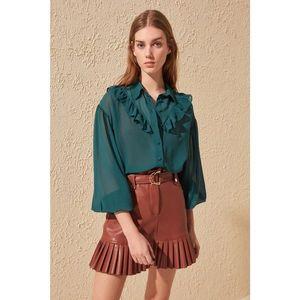 Trendyol Green Frill Detailed Shirt vyobraziť