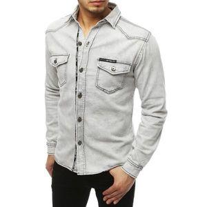 Light gray men's denim shirt DX1846 vyobraziť