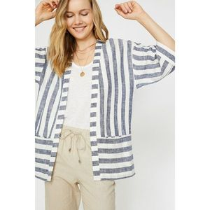 Koton Women's Navy Blue V Collar Short Sleeve Kimono vyobraziť