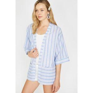 Koton Women's Blue Striped Kimono vyobraziť