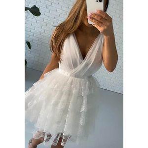 Smotanové krátke čipkované šaty Lola vyobraziť