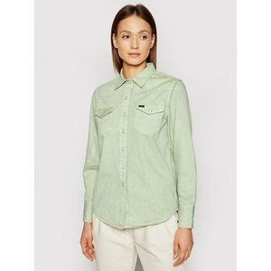 Wrangler džínsová košeľa Western W5WSMP30H Zelená Regular Fit vyobraziť