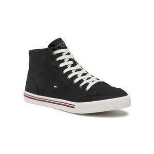 Tommy Hilfiger Sneakersy Core Corporate Mid Textile Snkr FM0FM03392 Čierna vyobraziť