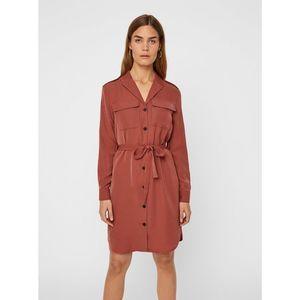 Hnedé košeľové šaty VERO MODA Selina vyobraziť