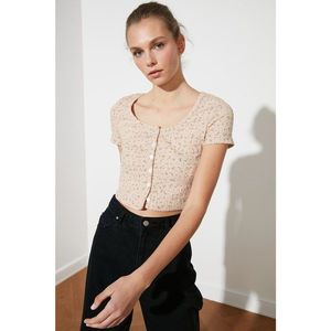 Trendyol Beige Printed Crop Knitted Blouse vyobraziť
