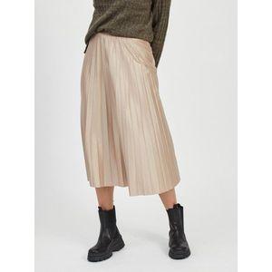 Béžová plisovaná midi sukňa VILA vyobraziť