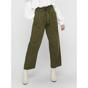 Zelené skrátené široké nohavice so zaväzovaním ONLY Pipi vyobraziť