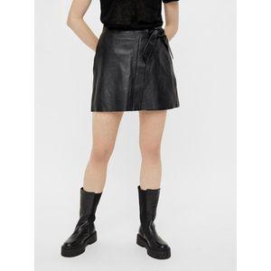 Čierna koženková zavinovacia sukňa .OBJECT Mimi vyobraziť