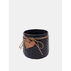 Čierny kvetináč s ozdobou Dakls vyobraziť