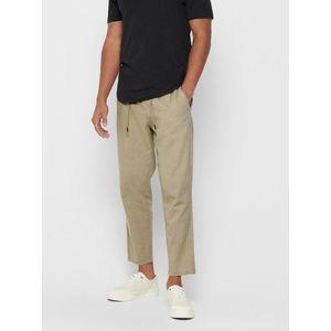 Béžové skrátené ľanové nohavice ONLY & SONS Leo vyobraziť
