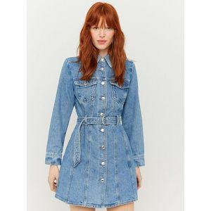 Modré rifľové košeľové šaty s remienkom TALLY WEiJL vyobraziť