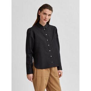 Čierna voľná ľanová košeľa Selected Femme Sybilla vyobraziť