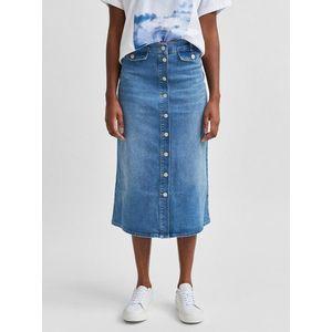 Modrá rifľová midi sukňa Selected Femme Asly vyobraziť