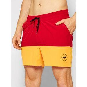 4F Plážové šortky SKMT002 Červená Regular Fit vyobraziť