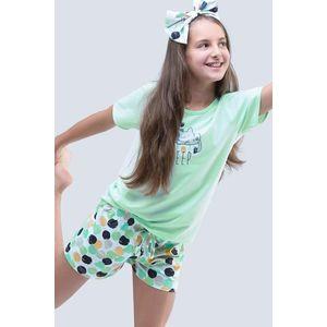 Dievčenské letné pyžamo Cats aqua vyobraziť