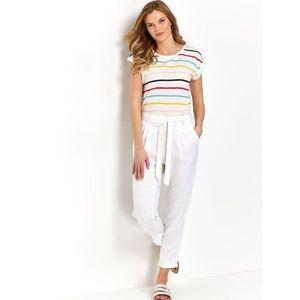Biele skrátené ľanové nohavice so zaväzovaním M&Co vyobraziť