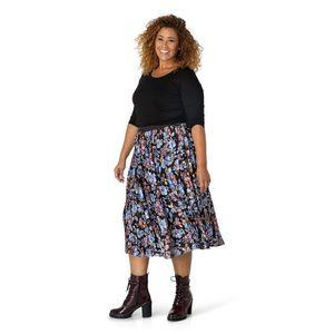Vínovo-modrá dámska kvetovaná plisovaná midi sukňa Yesta vyobraziť