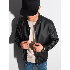 Trendová koženková bunda v čiernej farbe C484 vyobraziť