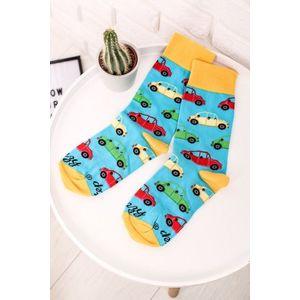 Žlto-modré ponožky Autá vyobraziť