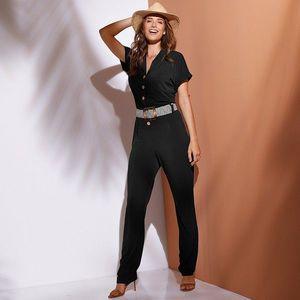 Jednofarebný nohavicový overal s gombíkm čierna 42/44 vyobraziť