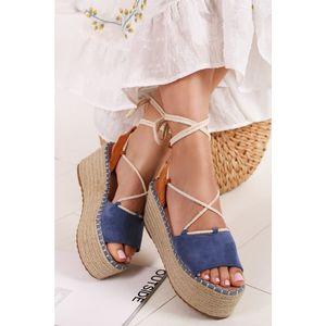 Modré platformové sandále Clemence vyobraziť