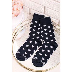 Tmavomodré ponožky Srdiečka modro-biele vyobraziť