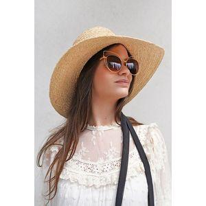 Béžový slamený klobúk so stuhou Laila vyobraziť