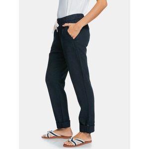 Tmavomodré ľanové nohavice s vreckami Roxy vyobraziť