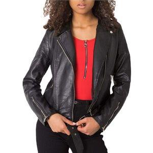čierna dámska koženková bunda vyobraziť