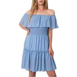 Svetlo modré mini šaty s riasením vyobraziť