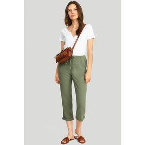 Olivovo zelené ľanové nohavice 421 vyobraziť