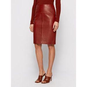 Boss Kožená sukňa Sebarbie1 50446151 Hnedá Slim Fit vyobraziť