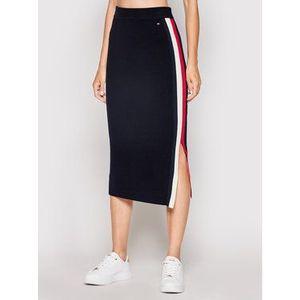 Tommy Hilfiger Puzdrová sukňa Global Stripe WW0WW31117 Tmavomodrá Fitted Fit vyobraziť