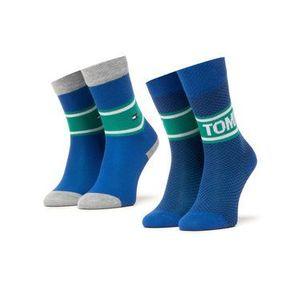Tommy Hilfiger Súprava 2 párov vysokých detských ponožiek 100000809 Modrá vyobraziť